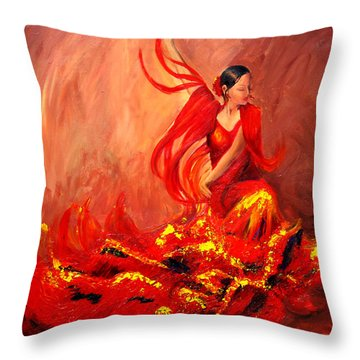 Fire Of Life Flamenco Throw Pillow