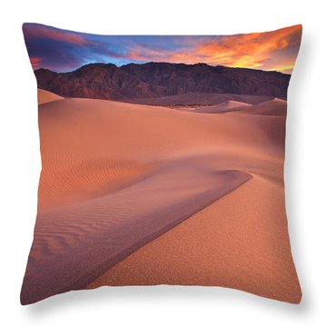 Fire On Mesquite Dunes Throw Pillow