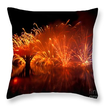 Fire On The Water Throw Pillow