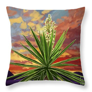 Fire Sky Desert Blooming Yucca Throw Pillow