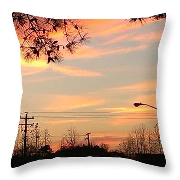 Throw Pillow featuring the photograph Fire Sky by Thomasina Durkay
