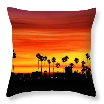 Throw Pillow featuring the photograph Fire Sunset In Long Beach by Mariola Bitner
