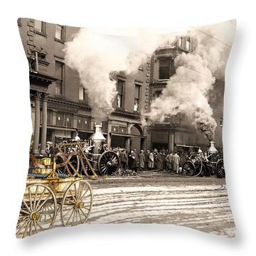Fire Truck In New York 1890 Collage Throw Pillow