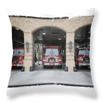 Fire Trucks At The Lafd Fire Station Are Decorated For Christmas Throw Pillow by Nina Prommer