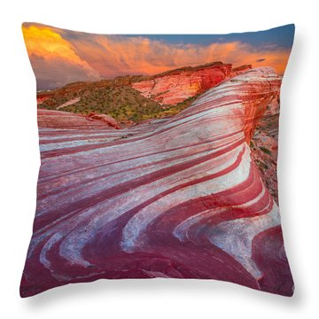 Fire Wave Throw Pillow by Inge Johnsson