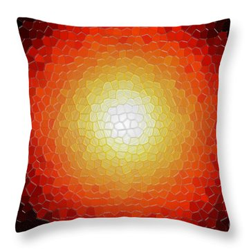 Fireball Sunburst A Tiffany Look Stain Glass Throw Pillow by Andee Design
