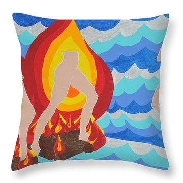 Throw Pillow featuring the painting Fired by Erika Chamberlin