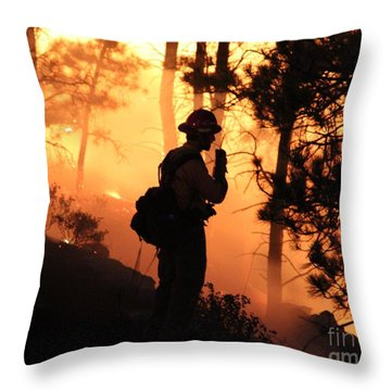 Firefighter At Night On The White Draw Fire Throw Pillow
