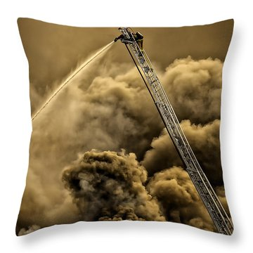 Firefighter-heat Of The Battle Throw Pillow