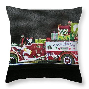 Firefighters Christmas Throw Pillow by Tommy Anderson