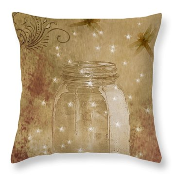 Fireflies And Dragonflies Throw Pillow
