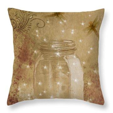 Fireflies And Dragonflies Throw Pillow