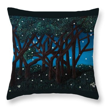 Throw Pillow featuring the painting Fireflies by Cheryl Bailey