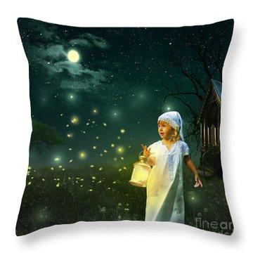 Fireflies Throw Pillow by Linda Lees