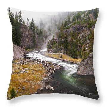 Firehole Canyon - Yellowstone Throw Pillow by Brian Harig