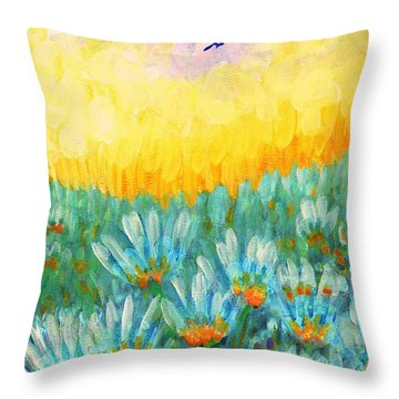 Throw Pillow featuring the painting Firelight by Holly Carmichael