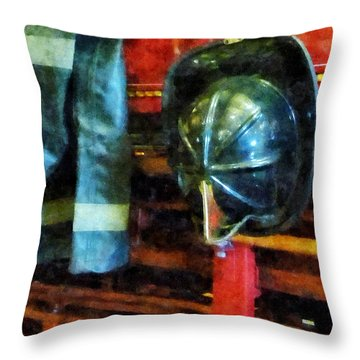 Fireman - Fireman's Helmet And Jacket Throw Pillow by Susan Savad