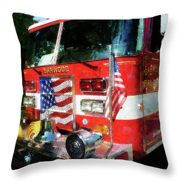 Fireman - Front Of Fire Engine Throw Pillow by Susan Savad