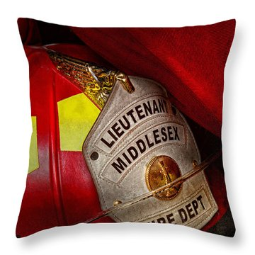 Fireman - Hat - Everyone Loves Red Throw Pillow by Mike Savad