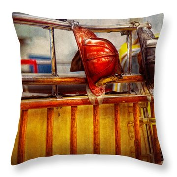 Fireman - Hat - Waiting For A Hero  Throw Pillow by Mike Savad