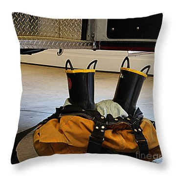 Fireman Ready To Go Throw Pillow