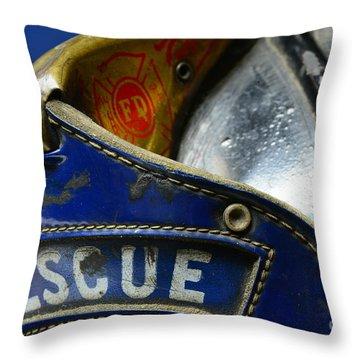 Fireman Rescue Throw Pillow by Paul Ward