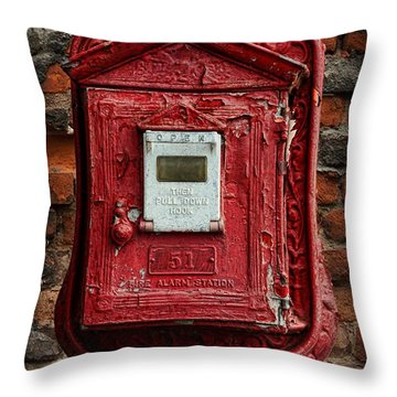 Fireman - The Fire Alarm Box Throw Pillow