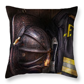 Fireman - Worn And Used Throw Pillow