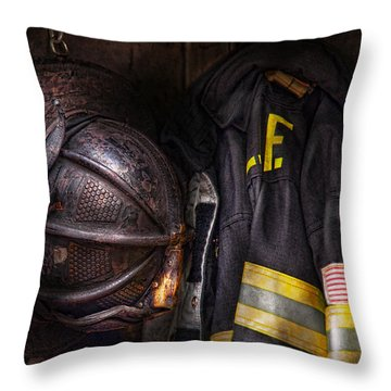 Fireman - Worn And Used Throw Pillow by Mike Savad