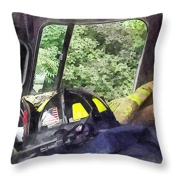 Firemen - Helmet Inside Cab Of Fire Truck Throw Pillow by Susan Savad