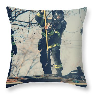 Firemen Throw Pillow by Laurie Search