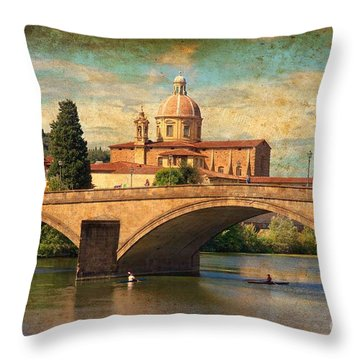 Ponte Alla Carraia Throw Pillow by Nicola Fiscarelli