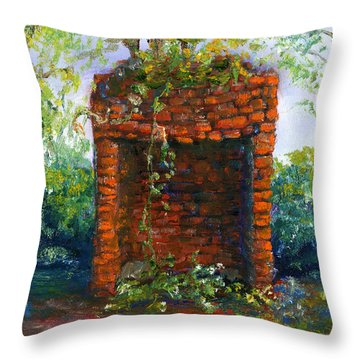 Fireplace At Melrose Plantation Louisiana Throw Pillow