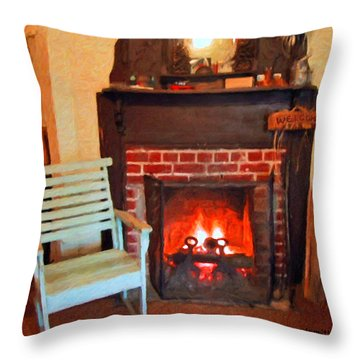 The Family Hearth - Fireplace Old Rocking Chair Throw Pillow by Rebecca Korpita