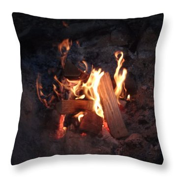 Throw Pillow featuring the photograph Fireside Seat by Michael Porchik
