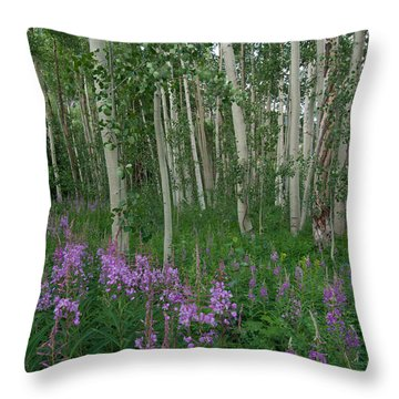 Fireweed And Aspen Throw Pillow