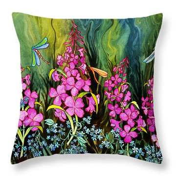 Fireweed And Dragonflies Throw Pillow