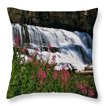 Fireweed Blooms Along The Banks Of Granite Creek Wyoming Throw Pillow