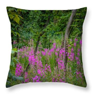 Fireweed In The Irish Countryside Throw Pillow