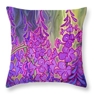 Throw Pillow featuring the mixed media Fireweed Medley by Teresa Ascone