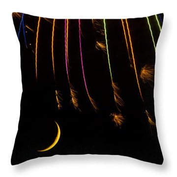 Firework Indian Headdress Throw Pillow by Darryl Dalton