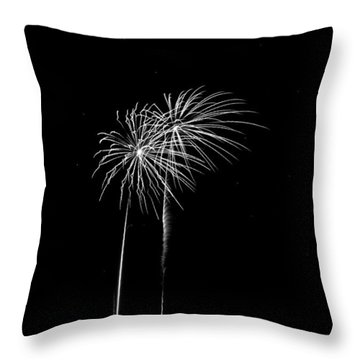 Firework Palm Trees Throw Pillow by Darryl Dalton