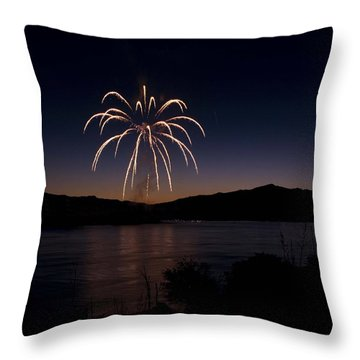 Throw Pillow featuring the photograph Fireworks 11 by Sonya Lang