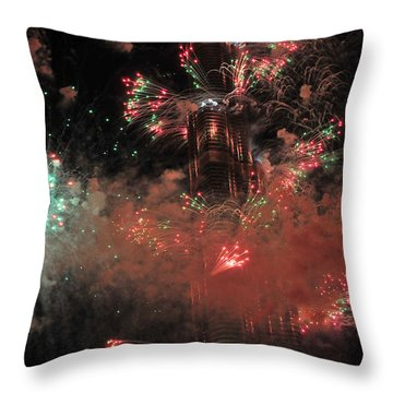 Burj Khalifa Fireworks 6 Throw Pillow