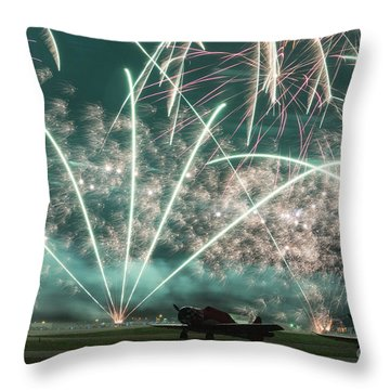 Fireworks And Aircraft Throw Pillow