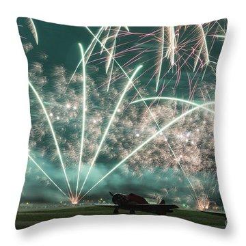 Fireworks And Aircraft Throw Pillow