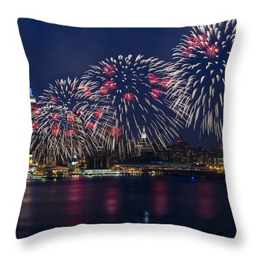 Fireworks And Full Moon Over New York City Throw Pillow by Susan Candelario