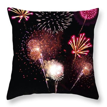 Fireworks At St. Albans Bay Throw Pillow