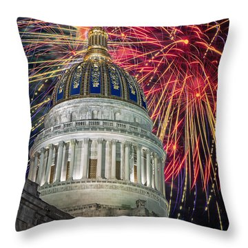 Fireworks At Wv Capitol Throw Pillow by Mary Almond