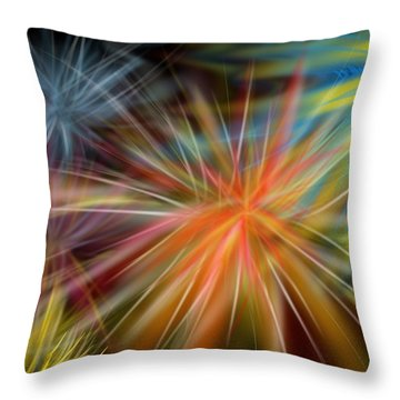Throw Pillow featuring the digital art Fireworks by Christine Fournier
